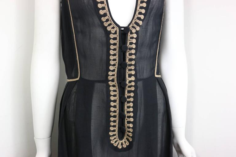 c7e776f81a9 Vintage 90s Emporio Armani black linen sleeveless maxi Dress. Featuring a  embroidered trimming U