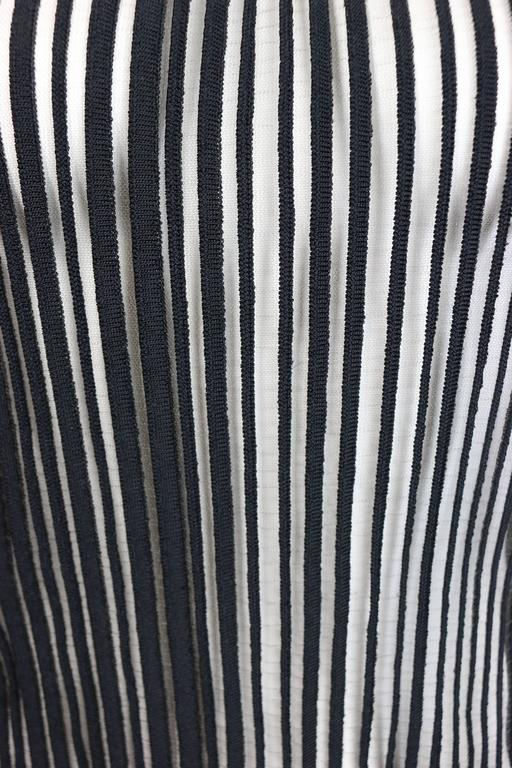 Thierry Mugler Black Knitted Vertical Stripe See Through Tank Top In Excellent Condition For Sale In Sheung Wan, HK