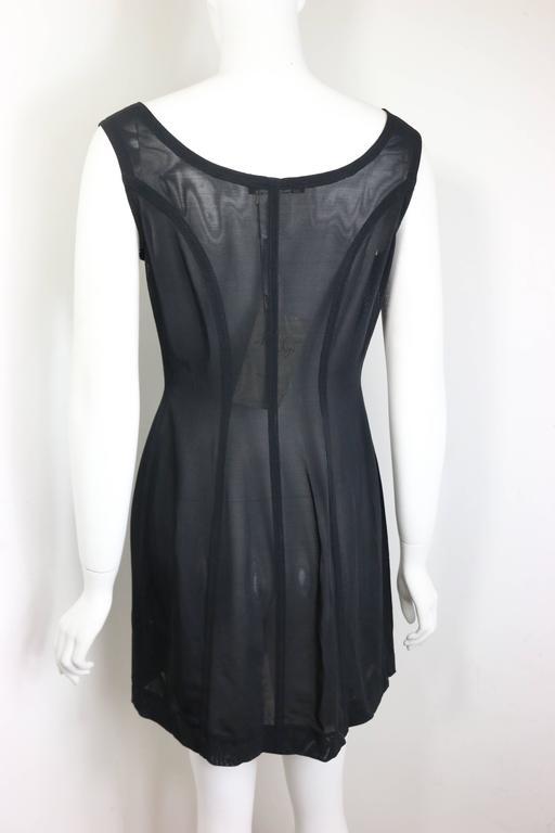Plein Sud Black Leather Trim See Through Sleeveless Dress For Sale 1