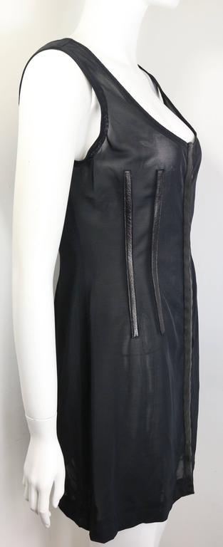 Women's Plein Sud Black Leather Trim See Through Sleeveless Dress For Sale