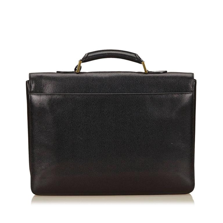 Chanel Black Caviar Leather Briefcase In Excellent Condition For Sale In Sheung Wan, HK