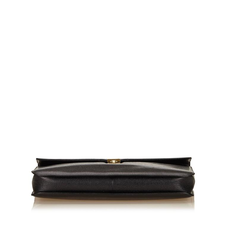 Women's or Men's Chanel Black Caviar Leather Briefcase For Sale