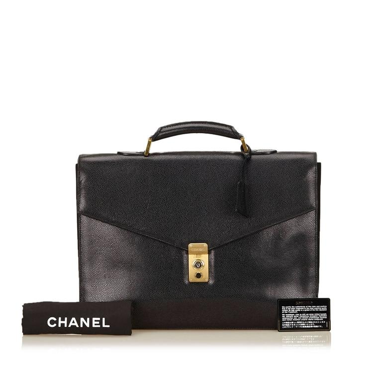 Chanel Black Caviar Leather Briefcase For Sale 4