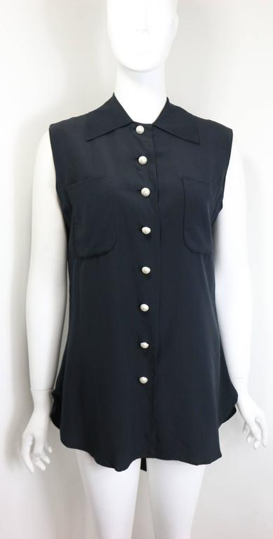 Moschino Couture Black Silk with Smiley Pearl Buttons Sleeveless Top  3