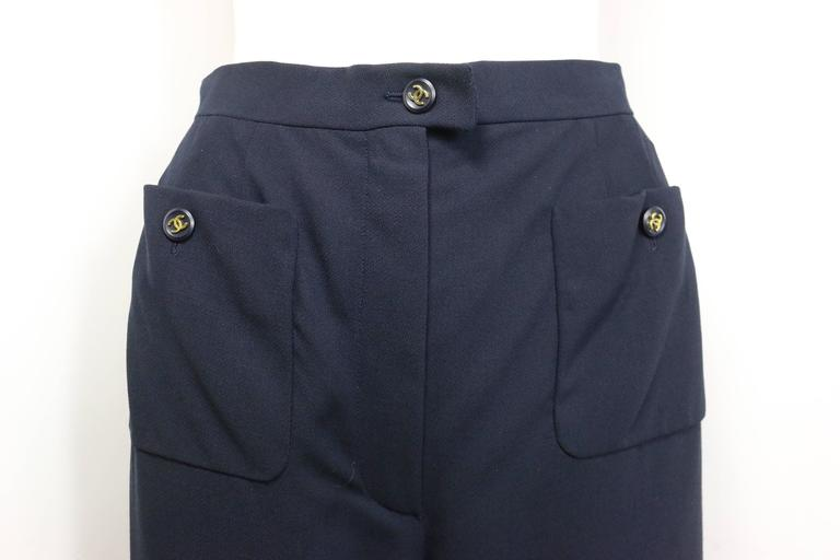 "Chanel Navy Gold ""CC"" Buttons Wool Wild Legs Pants  2"