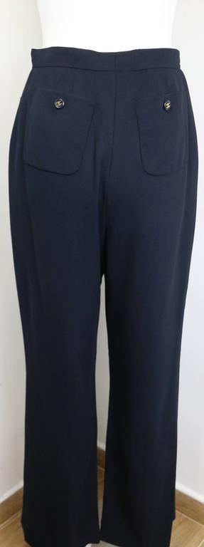 "Chanel Navy Gold ""CC"" Buttons Wool Wild Legs Pants  3"