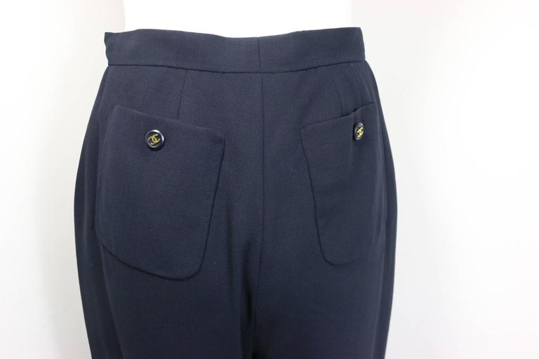"Chanel Navy Gold ""CC"" Buttons Wool Wild Legs Pants  4"