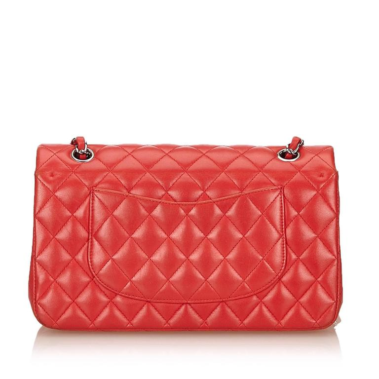 Chanel Classic Medium Red Lambskin Leather Double Flap Bag  3