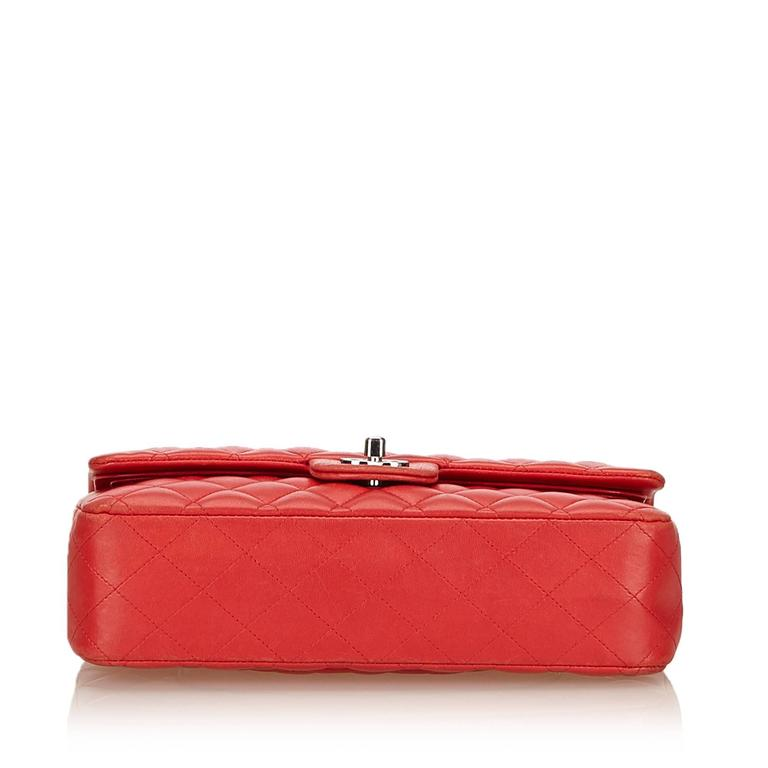 Chanel Classic Medium Red Lambskin Leather Double Flap Bag  4