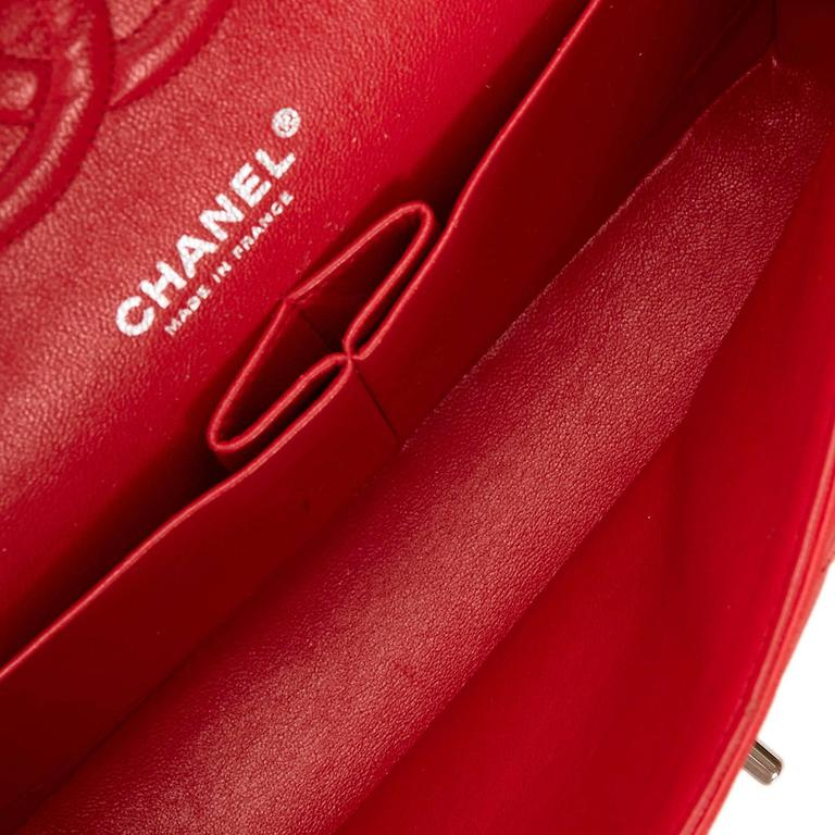 Chanel Classic Medium Red Lambskin Leather Double Flap Bag  5