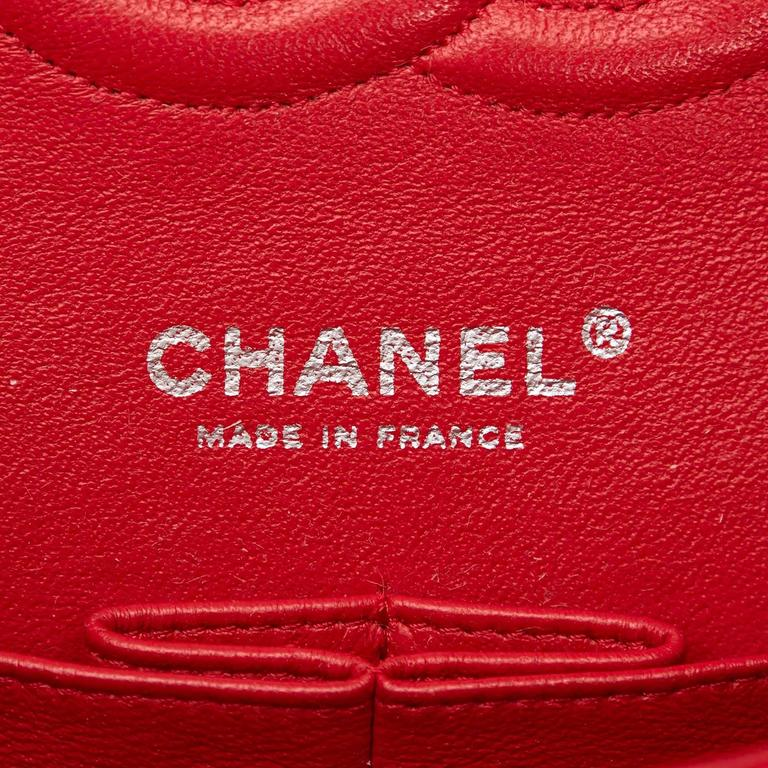 Chanel Classic Medium Red Lambskin Leather Double Flap Bag  6