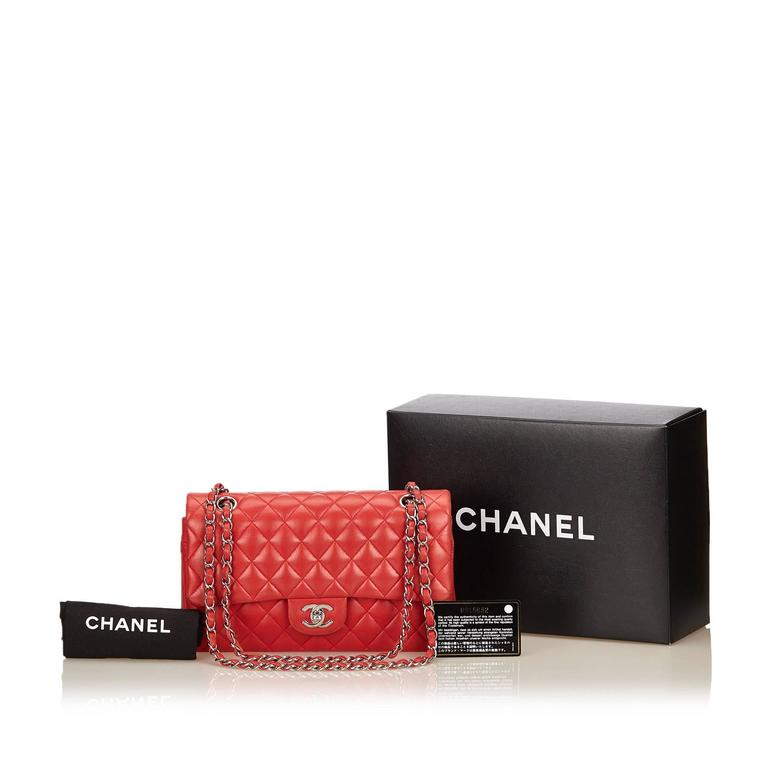 Chanel Classic Medium Red Lambskin Leather Double Flap Bag  8