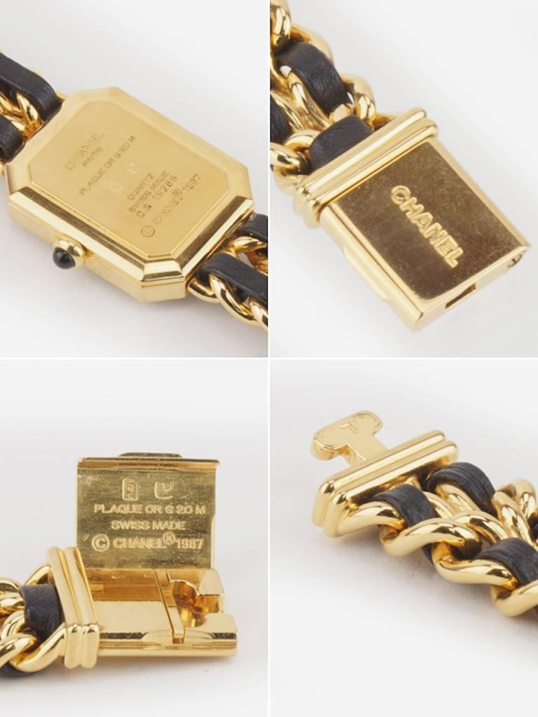 Chanel Black Leather Gold Plated Watch  For Sale 1