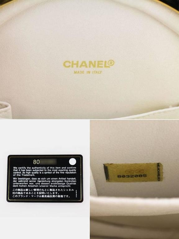 Chanel Black and White Lambskin Round Shaped Shoulder Bag For Sale 3