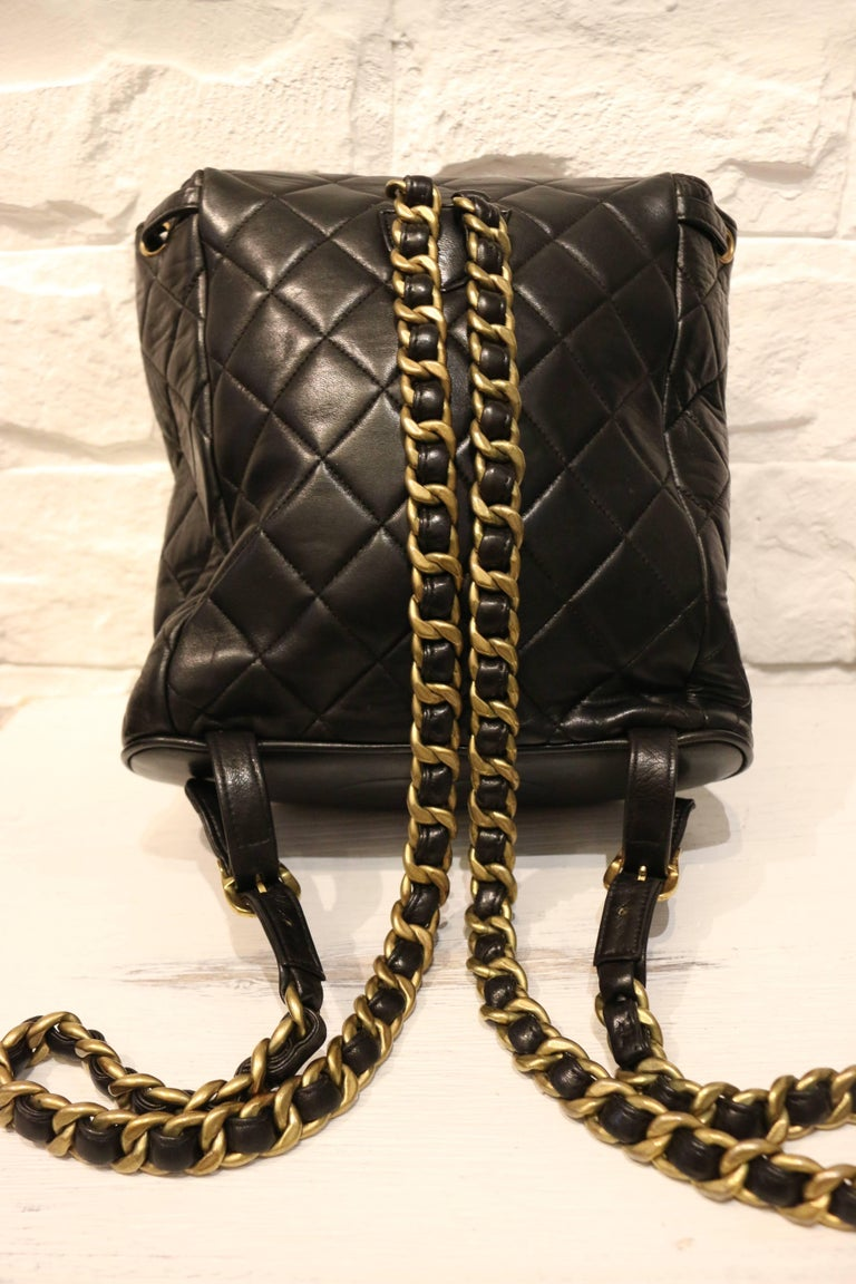 Chanel Black Lambskin Quilted Duma Backpack 2