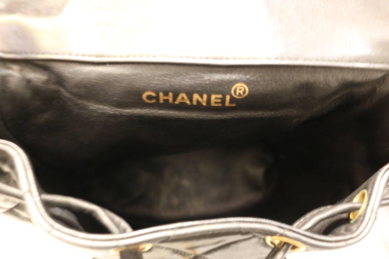 Chanel Black Lambskin Quilted Duma Backpack 4