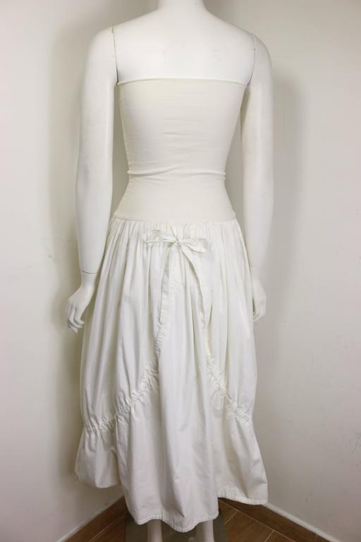 Gray Dolce and Gabbana White Cotton Strapless Dress For Sale