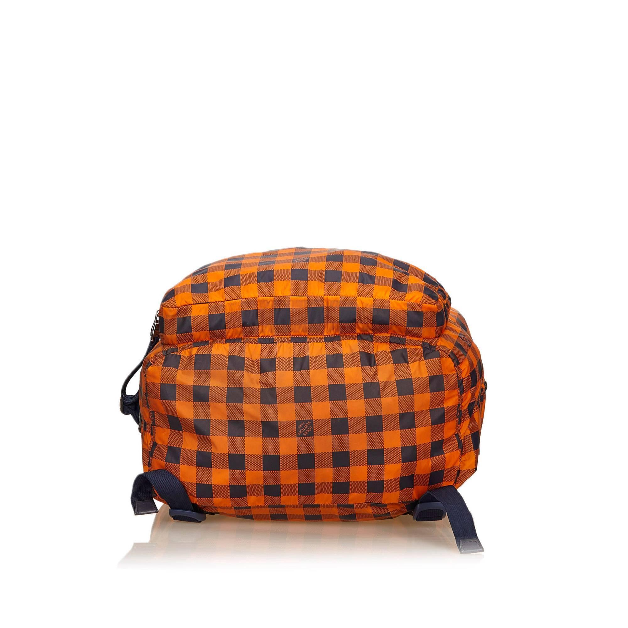 Louis Vuitton Orange And Black Canvas Damier Adventure Backpack WPqg8MdF