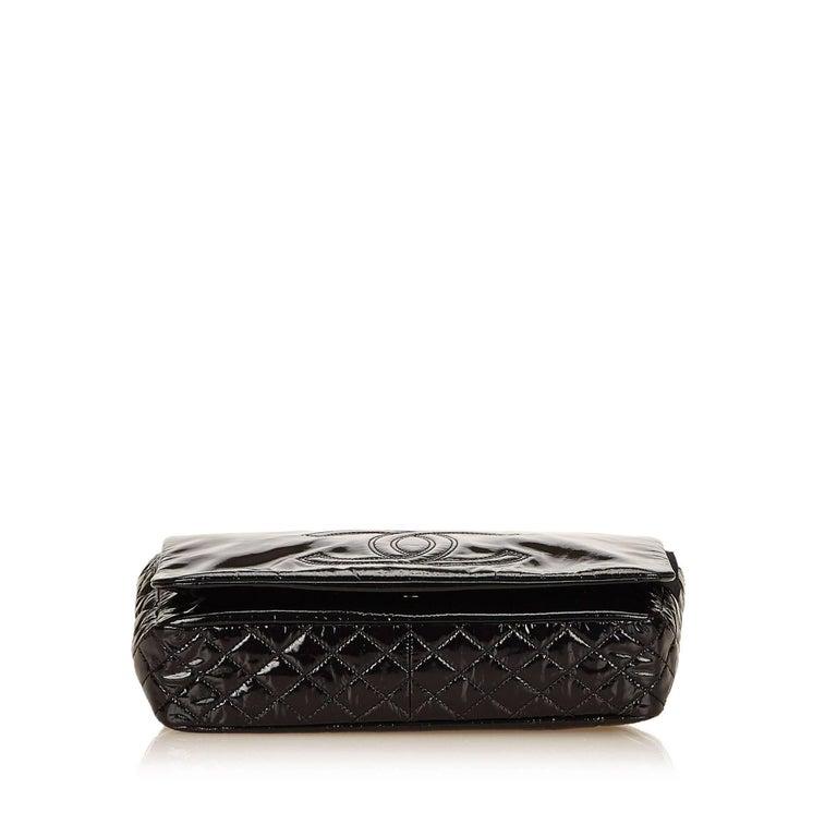 "Chanel Black Patent Leather ""CC"" Logo Flap Shoulder Bag  For Sale 1"