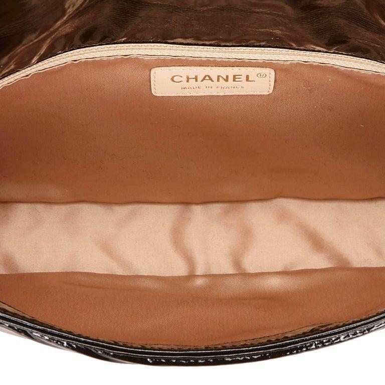 "Chanel Black Patent Leather ""CC"" Logo Flap Shoulder Bag  For Sale 2"