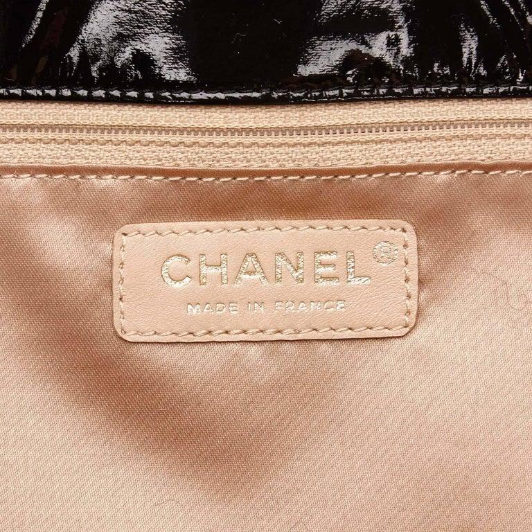 "Chanel Black Patent Leather ""CC"" Logo Flap Shoulder Bag  For Sale 3"