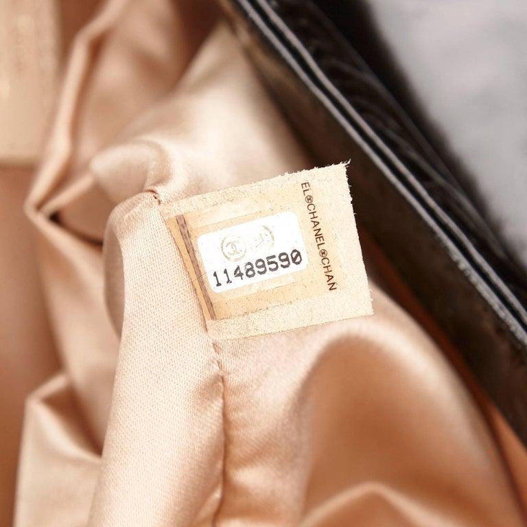 "Chanel Black Patent Leather ""CC"" Logo Flap Shoulder Bag  For Sale 4"