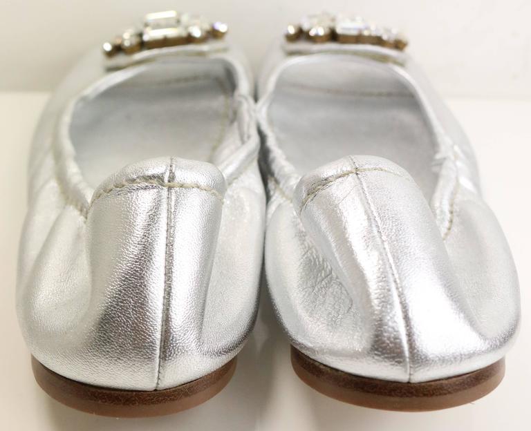 - Mui Mui silver metallic open toe flats. Featuring A