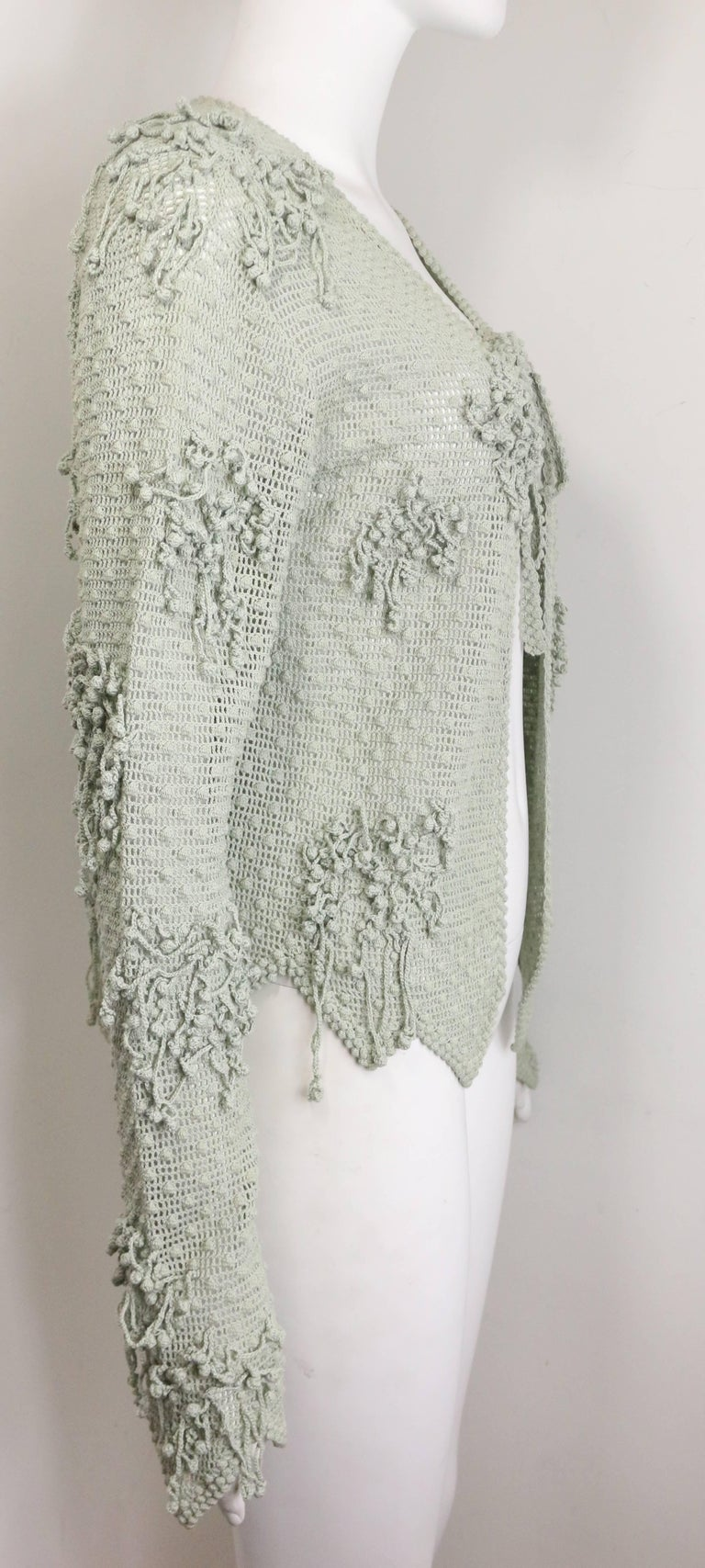 Gray Matsuda Green Knitted Jacket For Sale