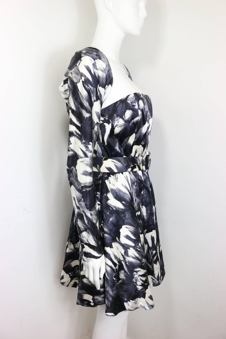 David Fielden Black and White Floral Print Tube Dress with Bolero Shrug Sleeves  For Sale 1