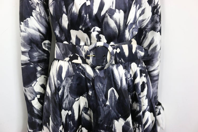 Women's David Fielden Black and White Floral Print Tube Dress with Bolero Shrug Sleeves  For Sale