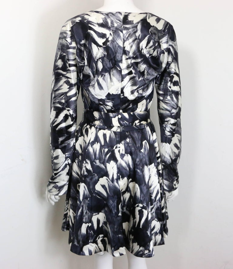 David Fielden Black and White Floral Print Tube Dress with Bolero Shrug Sleeves  For Sale 2