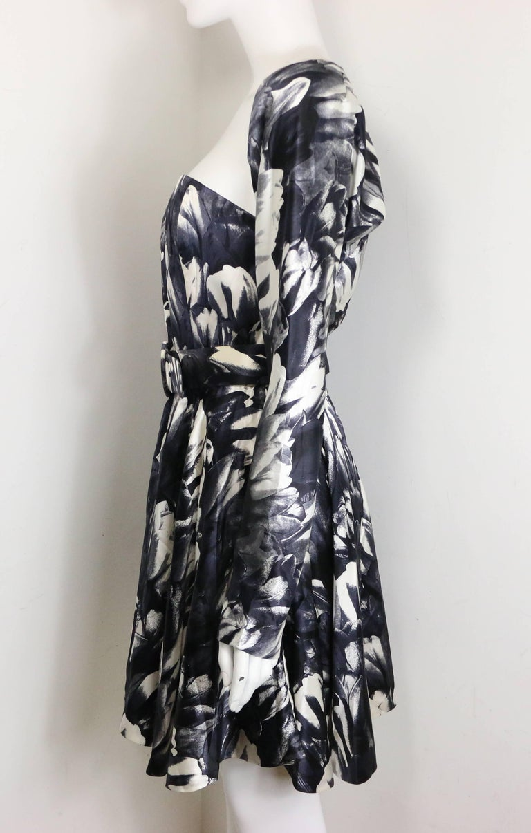 David Fielden Black and White Floral Print Tube Dress with Bolero Shrug Sleeves  For Sale 3