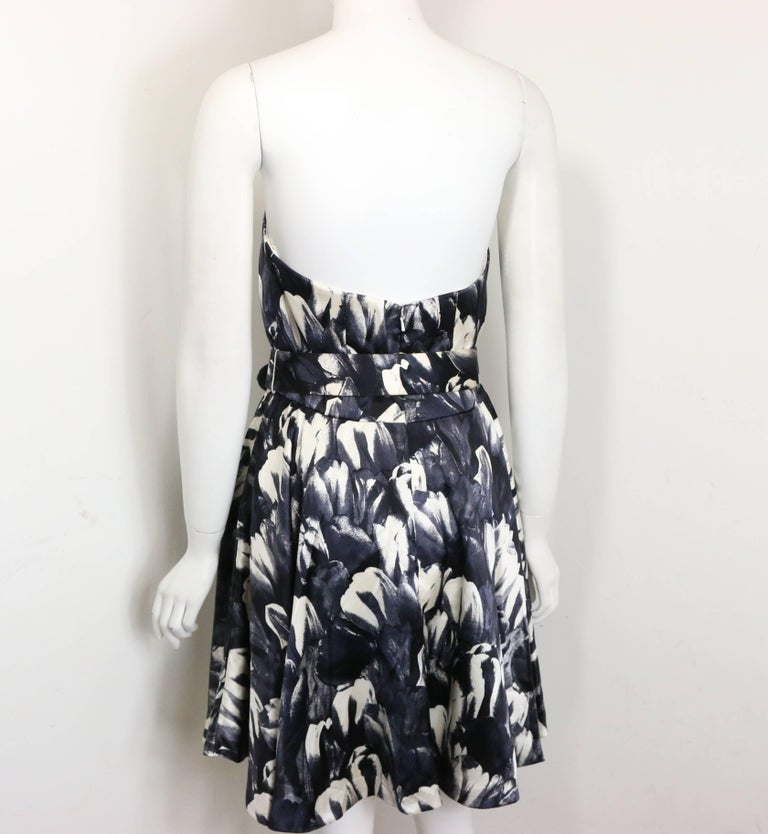 David Fielden Black and White Floral Print Tube Dress with Bolero Shrug Sleeves  For Sale 4