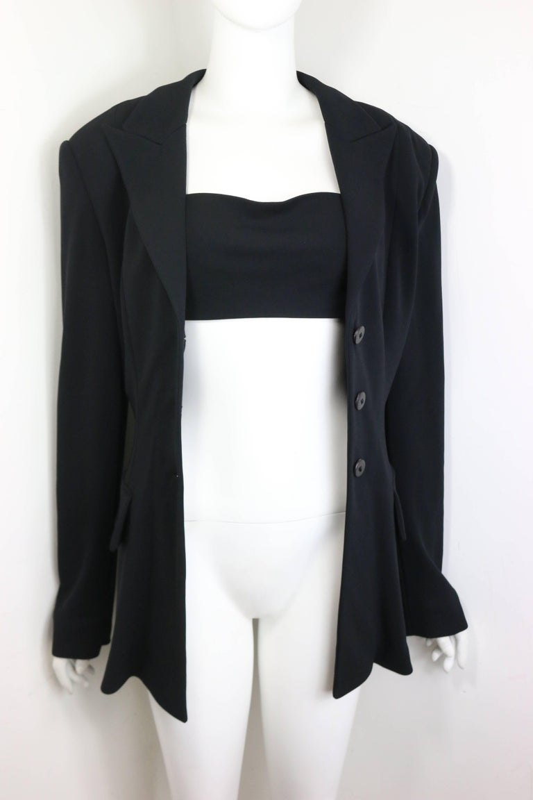 Plein Sud Black Open Back Jacket with Tube Top In Excellent Condition For Sale In Sheung Wan, HK