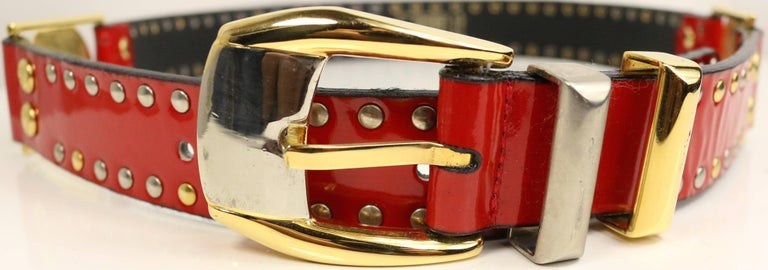 Men's 90s Gianni Versace Red Patent Leather Gold and Silver Studded Medusa Belt  For Sale