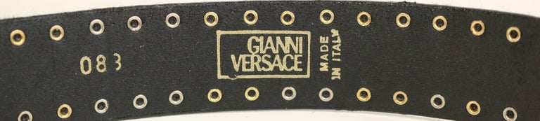 90s Gianni Versace Red Patent Leather Gold and Silver Studded Medusa Belt  For Sale 1