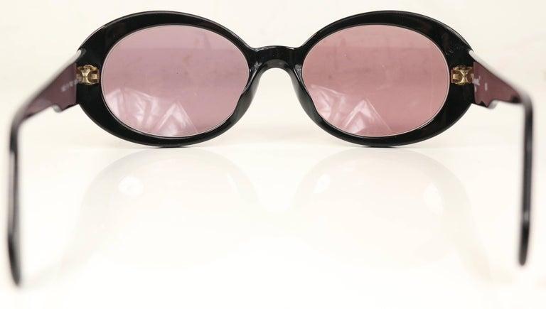 Brown Chanel Black Rhinestones Oval Frames Sunglasses For Sale