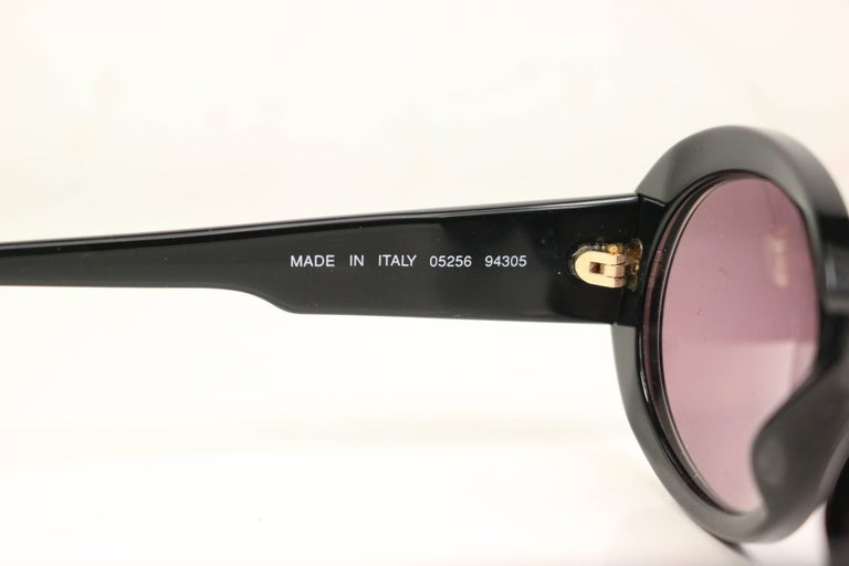Women's Vintage 90s Chanel Black Rhinestones Oval Frames Sunglasses For Sale