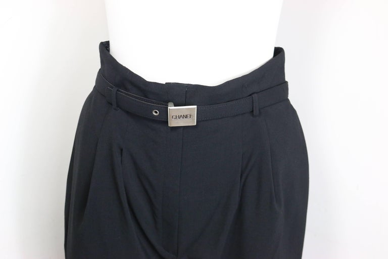 Chanel Black Wool Carrot Belted Pants  In Excellent Condition For Sale In Sheung Wan, HK