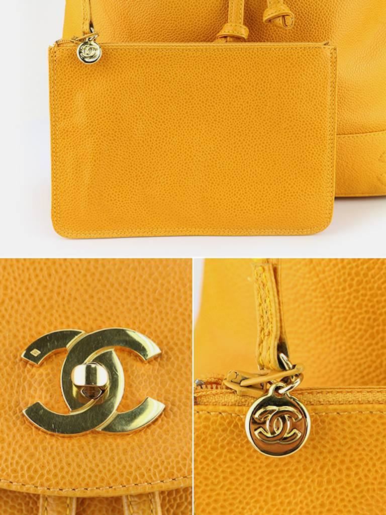 Chanel Orange Caviar Leather Backpack  For Sale 4