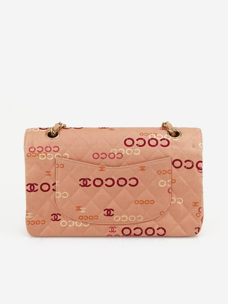 "Chanel Pink ""Coco"" Canvas Double Flap Shoulder Bag 2"