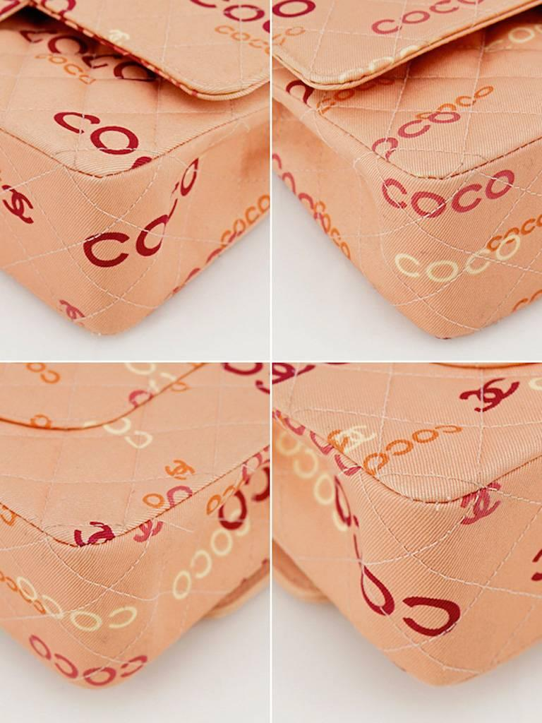 "Chanel Pink ""Coco"" Canvas Double Flap Shoulder Bag 4"