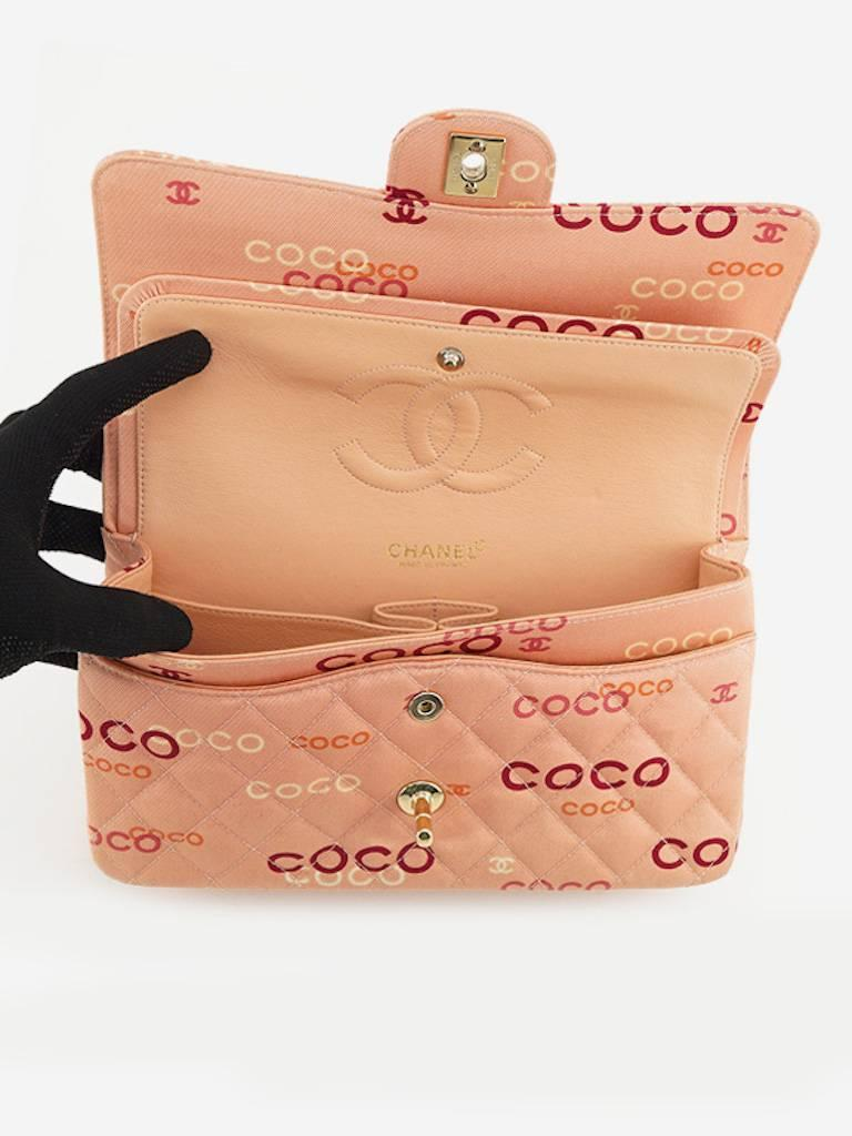 "Chanel Pink ""Coco"" Canvas Double Flap Shoulder Bag 6"