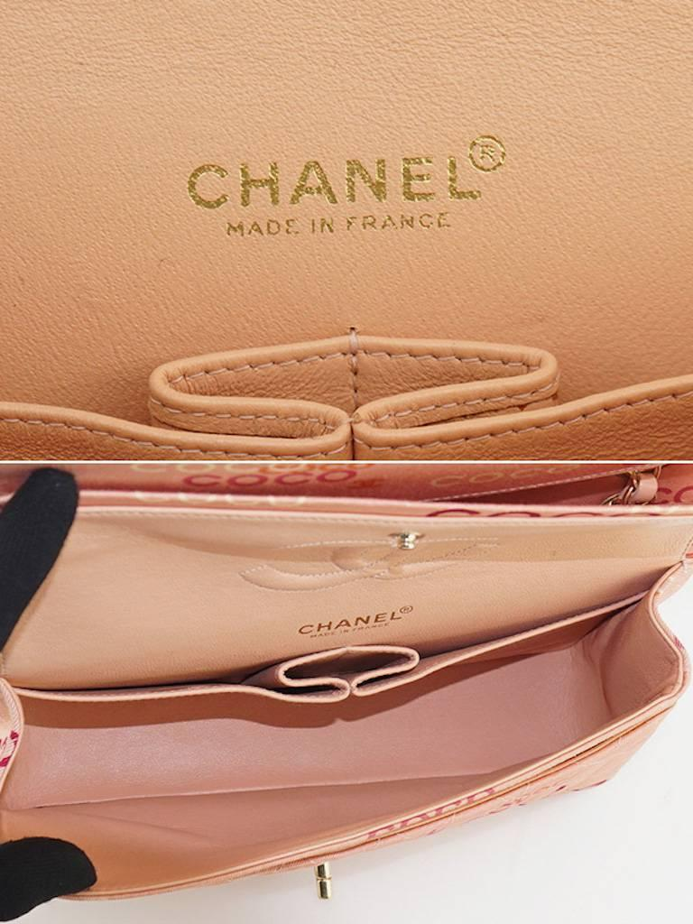"Chanel Pink ""Coco"" Canvas Double Flap Shoulder Bag 7"