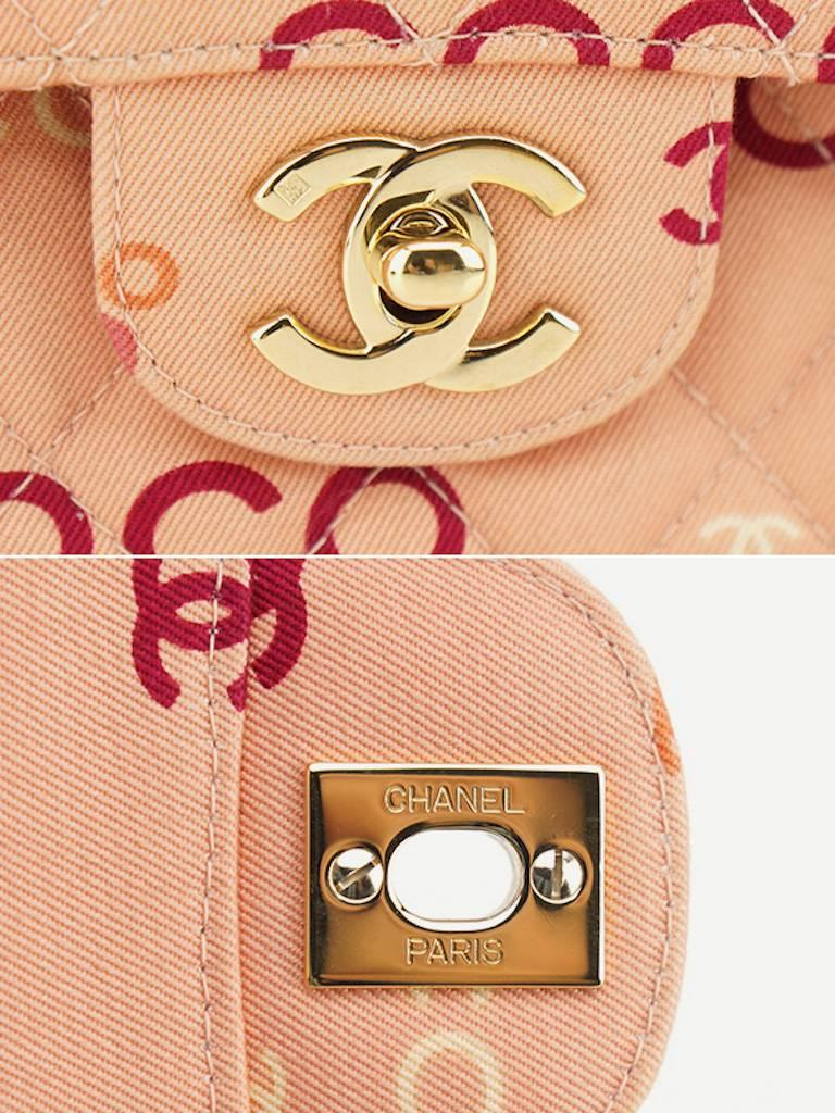 "Chanel Pink ""Coco"" Canvas Double Flap Shoulder Bag 8"
