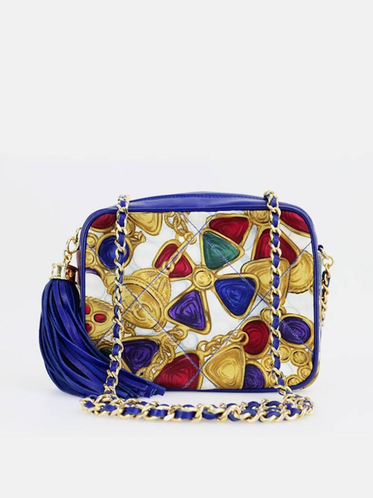 Beige Chanel Blue Lambskin with Silk Gripoix Accessories Pattern Tassel Shoulder Bag For Sale