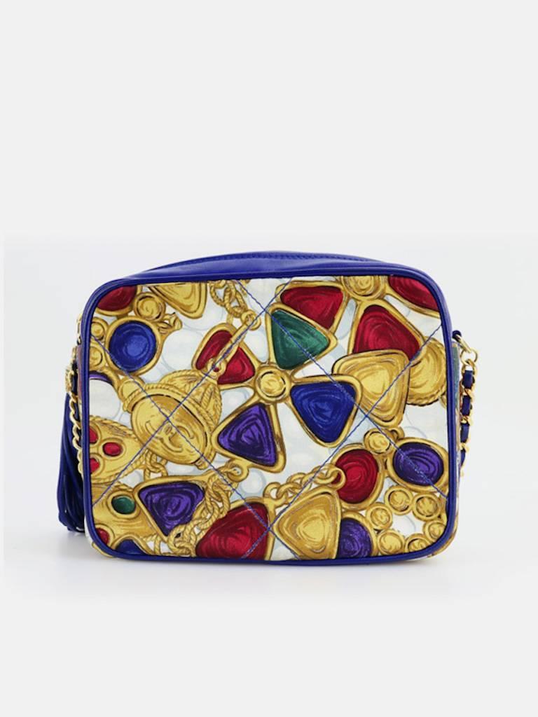 Chanel Blue Lambskin with Silk Gripoix Accessories Pattern Tassel Shoulder Bag 2