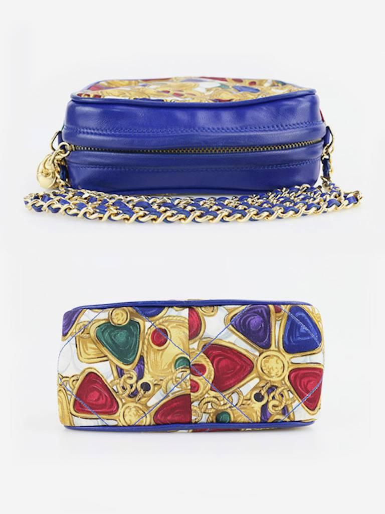 Women's Chanel Blue Lambskin with Silk Gripoix Accessories Pattern Tassel Shoulder Bag For Sale