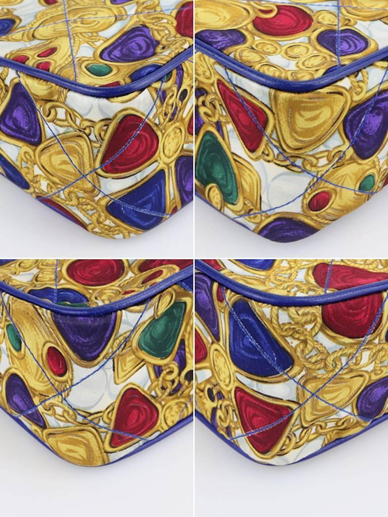 Chanel Blue Lambskin with Silk Gripoix Accessories Pattern Tassel Shoulder Bag For Sale 1