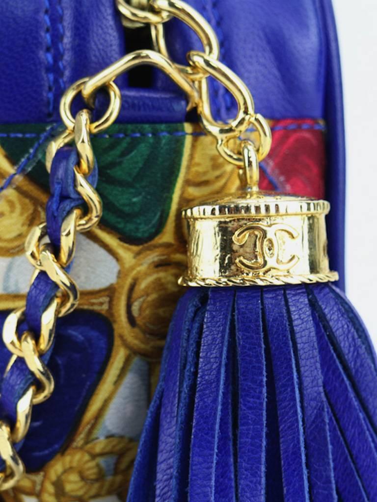 Chanel Blue Lambskin with Silk Gripoix Accessories Pattern Tassel Shoulder Bag For Sale 2